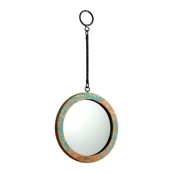 Through The Looking Glass Mirror - Ancient Blue - Flecks of ultramarine clinging to the distressed wood frame of the Through the Looking Glass Mirror bring a hint of Mediterranean patina to the timelessly transitional design. Hanging from gunmetal-hued hardware in a classic cable texture, this round wooden wall mirror is an elevating accessory beside a door or at the focal point of a wallscape.