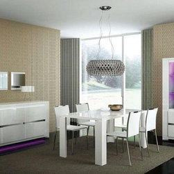 Extendable Wooden Italian Dinner Furniture Set - Italian white high gloss dining set elegance.