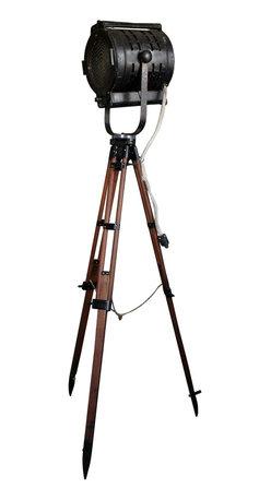 1950's Kliegl Bros. Stage Light - Vintage Surveyor Tripod - Vintage large Kliegl Bros. stage light mounted on an original restored wood surveyor tripod!
