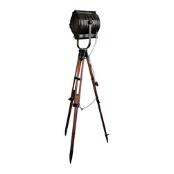 1950's Kliegl Bros. Stage Light - Vintage Surveyor Tripod - Vintage large Kliegl Bros. stage light mounted on an original restored wood surveyor tripod!