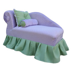 "Fantasy Furniture - Kid's Princess Chaise - This Lovely Princess Chaise will make all dreams come true, in any girls room. It is handmade using the same construction methods as an adult piece of furniture. Please look for the matching Princess Chair to create an amazing set. Any girl will love it !. Features: -Club chair.-Soft polar fleece in the body and poly-cotton skirt.-Strong wood frame.-2'' of high density foam on the seat and 1'' on the arms for extra comfort.-Product Type: Chaise lounge.-Collection: Princess.-Distressed: No.-Powder Coated Finish: No.-Gloss Finish: No.-Frame Material: Pine wood and OSB.-Hardware Material: Metal wire staples.-Solid Wood Construction: No.-Number of Items Included: Chaise and 2 matching pillows.-Non-Toxic: Yes.-UV Resistant: No.-Fire Resistant: Yes.-Scratch Resistant: No.-Stain Resistant: No.-Rust Resistant: No.-Mildew Resistant: No.-Rot Resistant: No.-Insect Resistant: No.-Arms Included: Yes.-Upholstered Seat: Yes -Removable Seat Cushions: No.-Seat Cushion Fill Material: Polyurethane foam.-Removable Seat Cushion Cover: No.-Tufted Seat Upholstery: No.-Welt on Seat Cushions: No..-Upholstered Back: Yes -Removable Back Cushions: No.-Back Cushion Fill Material: Polyurethane foam.-Removable Back Cushion Cover: No.-Tufted Back Upholstery: No.-Welt on Back Cushions: No..-Nailhead Trim: No.-Rocker: No.-Swivel: No.-Glider: No.-Reclining: No.-Footrest Included: No.-Stackable: No.-Foldable: No.-Inflatable: No.-Legs Included: Yes -Leg Material: Solid wood.-Protective Floor Glides: Yes..-Casters: No.-Storage Area: No.-Cupholder: No.-Skirted: Yes.-Ottoman Included: No.-Adjustable Height: No.-Ergonomic Design: No.-Age Recommendation: 18 months to 5 years.-Outdoor Use: No.-Seating Capacity: 1.-Weight Capacity: 75 lbs.-Swatch Available: No.-Commercial Use: No.-Recycled Content: No.-Eco-Friendly: No.-Product Care: Use light dishwashing soap and warm water for more difficult areas.-Convertible: No.Specifications: -FSC Certified: Yes.-CPSIA or CPSC Compliant: Yes.-CARB Compliant: Yes.-Green Guard Certified: No.Dimensions: -Overall Height - Top to Bottom: 20"".-Overall Width - Side to Side: 36"".-Overall Depth - Front to Back: 17"".-Seat Height: 9"".-Seat Width - Side to Side: 27"".-Seat Depth - Front to Back: 15"".-Legs: -Leg Height: 6"".-Leg Width: 2"".-Leg Depth: 2""..-Arms: -Arm Height: 24"".-Arm Width: 10""..-Storage: No.-Drawers: No.-Overall Product Weight: 20 lbs.Assembly: -Assembly Required: Yes.-Additional Parts Required: No.Warranty: -Product Warranty: 1 year."
