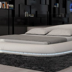 Cerchio Round Bed with LED Lights in Beige Eco-Leather - Modern Style Round Bed