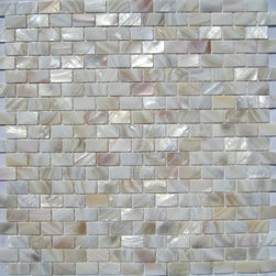 "Natural Varied Mother of Pearl Minibrick 5/8"" x 1"" Tile - Mother of pearl tiles add new and unique elegance to your bathroom, backsplash, headboard, and more. Our Mother of Pearl tiles are handmade from genuine natural freshwater pearls. Although Mother of Pearl tiles are naturally thin, they are very strong and durable as well as easy to install in kitchens, bathrooms, and pools."