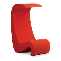 Panton Amoebe Highback Chair - The Amoebe was originally dreamed up for Panton's Visiona installation. It is a marvelous example of close-to-the-floor lounge furniture and embodies the spirit of the early 70's. Amoebe highback has a flexible backrest that curves over the head of the sitter, forming a sculptural canopy. In this way, Amoebe highback creates a sense of shelter and seclusion - especially in large, open spaces.