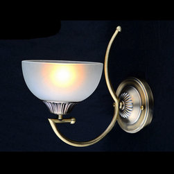 Antique Copper and Glass Shade Wall Sconce in Bronze Finish - Antique Copper and Glass Shade Wall Sconce in Bronze Finish