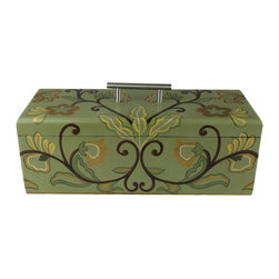 Brandi Renee Designs - Box Southern Bell Wood - This versatile rectangular shaped decor box painted in a fresh sage green with hand painted accents. If you are looking for an accent that is low and long to work in your grouping, you have found it.