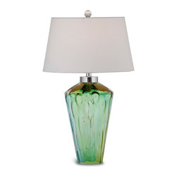 Bassett Mirror - Bassett Mirror Huntley Table Lamp - Create a marine-inspired look with this seafoam green and blue lamp. Topped with a white drum shade and glass ball finial, the Huntley Table Lamp features a textured clear glass base and chrome hardware. Pair it with transitional decor. Requires 60 watts or less, bulbs not included.