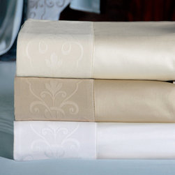 "Frontgate - Ornato Sheet Set - 100% cotton sateen woven in Italy. 600-thread count. Choose from several neutral colors. Queen: flat 96"" x 115""; fitted 60"" x 80"" x 17"". King: flat 115"" x 115""; fitted 78"" x 80"" x 17"". Cal King: flat 115"" x 115""; fitted 72"" x 84"" x 17"".. Machine Washable. The Ornato Sateen Bedding Collection is reminiscent of the sweeping beauty of Rome's most treasured architectural patterns. In this collection by Eastern Accents, a gently spiraling scroll and sharp color palette vitalizes its classic, traditional charm.  .  .  . .  . Because this bedding is specially made to order, please allow 4-6 weeks for delivery.. Fabrics woven in Italy; sewn in the U.S.A. Part of the Ornato Sateen Bedding Collection."