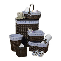 CreativeWare Home - Walnut Finish 6 Pc Learn & Store Hamper/Storage Willow Set - Hamper w/lid and handles. Wastebasket. Tissue holder. Large, Medium & Small Baskets. Beautifuil Rattan Construction. Removable Cotton Blend Liners. Attractive horizontal construction