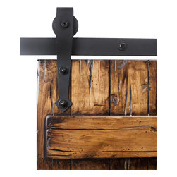 Rustica Hardware - Arrow Barn Door Hardware - 8 Feet Flat Black Finish - Black Nylon Wheels - Characterized by its pointed arrowhead base, this Arrow roller hanger is designed with a rounded top edge, which allows for the wheel to be exposed and visible as it rolls along the track. The Arrow design compliments a rustic, southwestern or old world style. This hanger mounts the face of the door.  Weight Limit: 500lbs Per Hanger Pair
