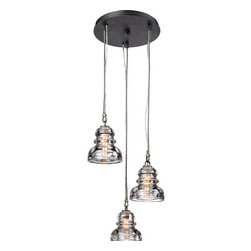 """Troy Lighting - Troy Lighting F3133 Menlo Park 3 Light Multi Light Pendant - Troy Lighting F3133 Menlo Park 3 Light 36"""" High Foyer PendantA unique industrial look is achieved with the use of glass insulators as shades and tension bars in the support cables.Troy Lighting F3133 Features:"""