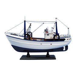 "Handcrafted Model Ships - Calm Seas 19"" - Wood Fishing Boat Model - Not a model ship kit"