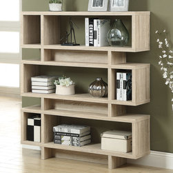 Monarch - Natural Reclaimed-Look 55in.H Modern Bookcase - Add some pizzazz to your living space with this 55 in. high hollow-core bookcase! This modern, natural reclaimed wood-look finish bookcase has ample room for displaying pictures, decorative pieces and even books. Its sturdy structure and innovative features will definitely add visual appeal to any decor.