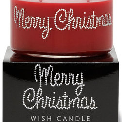 Primal Elements - Merry Christimas Wish Candle - A potpourri of orange, clove, nutmeg and spice. 9.5-ounce 2-wick Wish Candles have an approximate burn time of 35-40 hours. Make a wish for yourself or share one with a friend. Our beautifully hand jeweled Wish Candles fill your space with a sparkling expression and a warm glow. Featuring our original fragrances and a unique vegetable wax blend, each Wish Candle will provide approximately 35-40 hours of twinkling burn time.