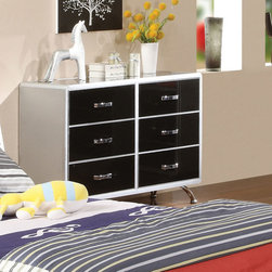 Hokku Designs - Modesto 6 Drawer Metal Dresser - Always fun, and incredibly safe, the modern youth bedroom set gives your kids a space they'll love for years to come. Features: -Materials: Metal.-Six spacious drawers.-Fit into multiple settings.-Silver and black tones finish.-Black and silver two tone finish.-Silver finish metal legs.-Modesto collection.-Distressed: No.-Collection: Modesto.Dimensions: -Overall Product Weight: 137 lbs.