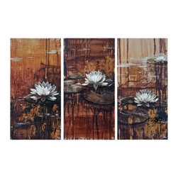 Ren-Wil - Ren-Wil OL849 Waterliles Vertical Canvas Wall Art by Mia Archer - This set of three hand-painted water lilies float on a golden abstract background and are highlighted with rich brown drips throughout to tie it all together.