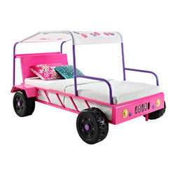 Powell - Powell Twin Girls Buggy  Bed - The Girls Buggy Bed is perfect for adding an eyecatching, fun centerpiece to a little girls bedroom. The bed looks just like a real buggy with four wheels, front headlights and a canopy roof. An open front and sides makes it simple to get in and out of. The canopy roof is accented by brightly colored flowers, adding a feminine flair to the piece. Finished in a bright pink, purple and white, the buggy is perfect for any little girls space. Fits a standard twin size mattress.