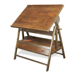 Kathy Kuo Home - Draftsman's Industrial Loft Wood Iron Desk Table - This desk is perfect for the writer, artist or architect in your life.  Its gorgeous combination of rustic wood and brassy metal make it a timeless beauty, worthy to be handed down from one creative generation to another. The extra storage drawer in the base conceals writing or sketching tools, and the hand crank allows this table to be flat or angled, depending on the need or inspiration. Perfect for your urban loft space.