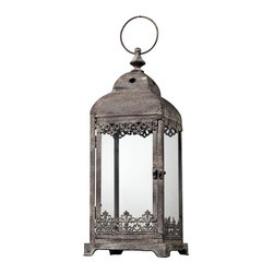 Sterling Industries - Hurricane Lantern In Distressed Finish - Square - Hurricane Lantern In Distressed Finish - Square