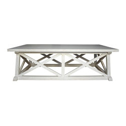 NOIR - NOIR Furniture - Sutton Coffee Table in Hand Rubbed Black - GTAB121, White Wash - Features: