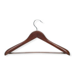 Honey Can Do - Deluxe Contoured Suit Hanger with Non-slip Ba - Includes 1 Deluxe Contoured Suit Hanger. Contured shape. Maintains proper coat and shirt shape. Grooved-grip bar. Keeps pants in place. Premium wood. Heavy-duty construction. 17.75 in. L x 1.75 in. W x 11 in. H (0.121 lbs.)Honey-Can-Do HNG-01232 Curved Wood Suit Hanger, Cherry Finish. Hang and organize your finest suits in style with the Cherry Finish Wide Shoulder Suit Hanger. Keeps coordinating suit components stored conveniently on the same hanger and are designed to help garments maintain a just-pressed look. Features solid hardwood construction with a deep, rich finish. Large sturdy hanging hook has a polished chrome finish and swivels. Trouser bar holds coordinating suit pants. Extra wide rounded shoulders prevent unsightly hanger marks on suit shirt and jacket. Contoured design helps maintain the natural shape of suit jacket. High gloss cherry finish adds warmth and sophistication to a closet decor. A gorgeous upgrade for any closet.