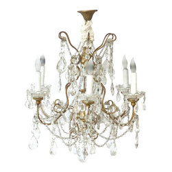 n/a - Consigned Vintage Gilded Chandelier - In the Louis XV style, this gilded metal chandelier features arm-to-arm glass bead festoons, glass bobeches and faceted almond pendants.  It's canopy displays a delicate leaf pattern and the electrical connection is decorated with a ruched canvas sleeve. This 6-arm chandelier needs to be hardwired and each light can sustain 60 watts.  Bulbs not included.
