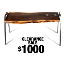 SALE - The Evelyn Coffee Table - The Evelyn Coffee Table is made from solid steel construction and gorgeous live edge Walnut that was locally sourced from Northern California.