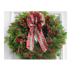 Fresh Maine Balsam Wreath, Rosehip with Tartan Bow