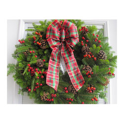 Fresh Maine Balsam Wreath, Rosehip with Tartan Bow - A Christmas wreath can become a little more elegant with the right ribbon. This tartan one really makes it stand out.