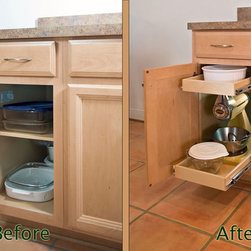 Glide-Out Shelf - Before & After - Pull out shelves allow you to store items in the back of the shelf and still access them when necessary.  Our custom made shelves extend fully, hold up to 100 pounds per shelf, and are your key to organizing all of your existing cabinets and closets.