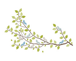 """WallPops - Sitting in a Tree Wall Art Decal Kit - Who could resist a peaceful setting of multi-color birds perched on a whimsical tree branch? These wall appliques bring nature indoors, and let you be the artist as you arrange your branches, leaves, and birds decals to fit your space. Sitting in a Tree Kit WallPops come on two 17.25"""" x 39"""" sheets and contains 93 total pieces.  WallPops are always repositionable and removable."""