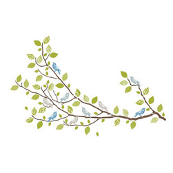 "WallPops - Sitting in a Tree Wall Art Decal Kit - Who could resist a peaceful setting of multi-color birds perched on a whimsical tree branch? These wall appliques bring nature indoors, and let you be the artist as you arrange your branches, leaves, and birds decals to fit your space. Sitting in a Tree Kit WallPops come on two 17.25"" x 39"" sheets and contains 93 total pieces.  WallPops are always repositionable and removable."