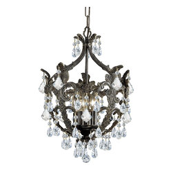 Crystorama - Crystorama 5195-EB-CL-MWP Chandelier - Make a statement in any foyer or hallway with Crystorama Legacy Collection. This distinctive wrought iron fixture mixes the warm tones of the English Bronze with clear Majestic Wood Polish Crystal accents to create a classically styled traditional chandel As a family owned company their concern for excellence is expressed in their styling, detailing and sincere caring for their valued customer. Crystorama was initially founded as a primary importer of crystal chandeliers and offers the finest selection of classical crystal designs.