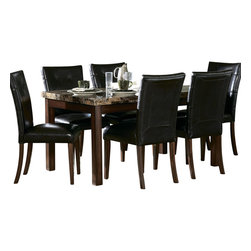 Homelegance - Homelegance Achillea 7 Piece 60 Inch Dining Room Set - The decorative faux marble tops of the transitional Achillea collection are highlighted by cherry finish. For optimal space planning, the collection is offered in three table sizes.