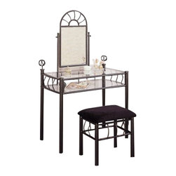 """Coaster - 2-Piece Vanity Set (Black) By Coaster - Sunburst Design Black Finish Metal Vanity Table Mirror and Stool/Bench Set. This is a brand new Sunburst Design black finish metal vanity set. Item is designed with two clear glass shelves, mirror and matching stool/bench. Beautify your bedroom with this vanity set that adds elegance to your decor. Item is designed to perfection and crafted to be practical and stylish in decor for your home furniture. Item may require simple assembly. Dimensions Measure: Vanity - 34""""W x 19 1/4""""D x 55""""H, Stool/Bench - 18""""W x 13 1/2""""D x 17""""H"""