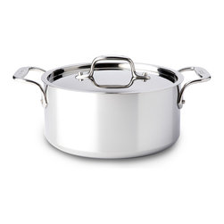 All-Clad - All-Clad Tri-Ply Stainless Steel 3 qt. Casserole Pan w/Lid (4303) - The casserole features high, straight sides with a smaller surface area that holds heat well while limiting evaporation. Ideal for boiling or blanching a wide variety of foods or simply reheating smaller batches of soups, chili, and vegetables, the versatile casserole can be used to cook, warm and serve. Lifetime warranty from All-Clad with normal use and proper care. Made in the USA!