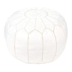 Indigo&Lavender - Leather Moroccan Pouf, White - Handcrafted in Marrakch, this Moroccan ottoman pouf is a simple but oh so luxurious home accessory. Individual pieces of leather are dyed, then stitched together and embroidered by hand.