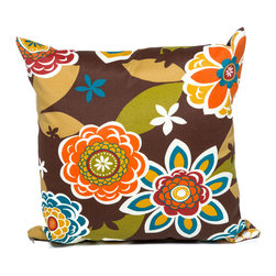 TKC - Pair of New Decorative Outdoor Throw Pillows Square - 18x18 - Retro Floral - Help make your outdoor space inviting with the addition of outdoor throw pillows.