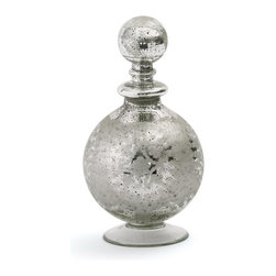Go Home - Medium Orb Decanter- Set Of 2 - Medium Orb Decanter adds elegance to any surface. Crafted from glass, it features an antiqued etched silver finish and a spherical glass stopper.
