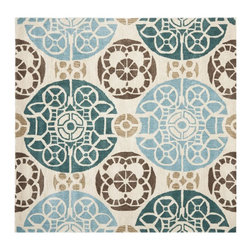 Safavieh - Contemporary Wyndham Square 7' Square Beige - Blue Area Rug - The Wyndham area rug Collection offers an affordable assortment of Contemporary stylings. Wyndham features a blend of natural Beige - Blue color. Hand Tufted of Wool the Wyndham Collection is an intriguing compliment to any decor.