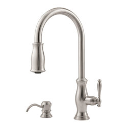 Price Pfister - Pfister GT529-TMS Hanover One Handle Pulldown Kitchen Faucet - Price Pfister GT529-TMS is, Hanover Series , or 4-hole kitchen pull-down faucet with matching soap dispenser. Can be mounted with deckplate for 4-hole configurations and without deckplate for 2-hole configurations. Includes adjustable spray volume control..