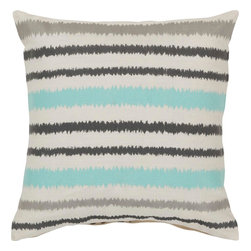 """Surya - Surya AR-100 Vertical Stripes Pillow, 18"""" x 18"""", Poly Fiber Filler - Looking to add a fun, upbeat style sure to spice up your space? Destined to transform your room, this quirky piece puts an exciting twist on the classic striped pattern. The cream, blue, and gray coloring comes together in perfect harmony, redefining luxury, crafting an elegant piece that possesses instant charm. This pillow contains a zipper closure and provides a reliable and affordable solution to updating your home's decor. Genuinely faultless in aspects of construction and style, this piece embodies impeccable artistry while maintaining principles of affordability and durable design, making it the ideal accent for your decor."""