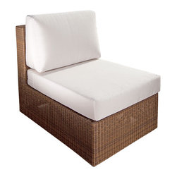 Westminster Teak Furniture - Malaga Premium Deep Seating Slipper Chair - Part of the Malaga Collection, the beautifully scaled Summer Grass Slipper Chair with its well appointed plush cushions can be used singly or part of the collection to extend the length of a sofa. Constructed of All Weather Wicker