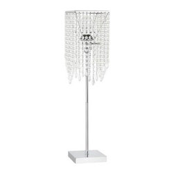 GLOBE - Crystal Lamp: Crystal 26 in. Chrome Floor Lamp 11281 - Shop for Lighting & Fans at The Home Depot. Globe Electric Crystal 26 in. floor lamp with chrome. Add some glam to your home with this one light crystal table lamp. In a contemporary chrome finish, this lamp can add a sophisticated addition to a living room, bedroom or open area. Its round beaded crystals hang in an elegant welcoming fashion. It has a 3 way rotary switch that provides 3 levels of light. Bring shine, and light to your home.