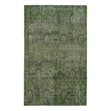 """Kaleen - Kaleen Restoration Collection RES01-50 5'6"""" x 8'6"""" Green - The Restoration collection puts the finishing touches on a classic reproduction for some of the most unique rugs in the world. Hand-knotted in India of 100% wool, each rug is intentionally distressed by hand-shearing for authenticity, over-dyed colors for beautiful style, and complete with the smallest little details for the perfect replica of a vintage antique rug.  A 100% natural """"green"""" product and completely free of any latex materials."""