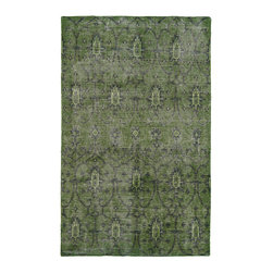 "Kaleen - Kaleen Restoration Collection Res01-50 5'6""X8'6"" Green - The Restoration collection puts the finishing touches on a classic reproduction for some of the most unique rugs in the world. Hand-knotted in India of 100% wool, each rug is intentionally distressed by hand-shearing for authenticity, over-dyed colors for beautiful style, and complete with the smallest little details for the perfect replica of a vintage antique rug.  A 100% natural ""green"" product and completely free of any latex materials."