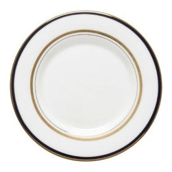 kate spade new york - kate spade new york Library Lane Navy Saucer - Classic bands of gold and navy give our Library Lane Navy Saucer by kate spade new york a sophisticated look. Crafted of bone china and accented with bands of gold the saucer will transform your table into an elegant one.