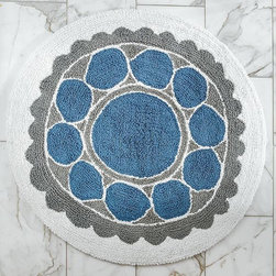 Wood-Block Flower Bath Mat - Sunny, Scando-chic woodblock flowers bloom in the round on plush, absorbent cotton.