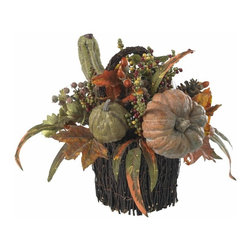 "Fall Pumpkin and Berry Table Arrangement - With a cornucopia of Autumn goodness cascading out of its lovingly crafted twig-wrapped base, this 15 "" table piece will be the showpiece of your holiday table (apologies to your holiday turkey and cranberry sauce, of course). And here's the best part: your ""nearly natural "" table piece will never spoil, meaning it'll become as much a tradition as your special holiday silverware. Height= 15 in x Width= 14 in x Depth= 14 in"