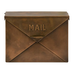 Imax Worldwide Home - Tauba Copper Mail Box - Old Fashioned.  Antique look.  mail box with hinged lid resembles the look of an envelope. Misc (outdoor). 12.25 in. H x 5.25 in. W x 16.25 in. D. 100% Zinc Galvanized Iron Sheet